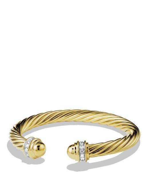 David Yurman Yellow Cable Classics Bracelet With Diamonds & Gold