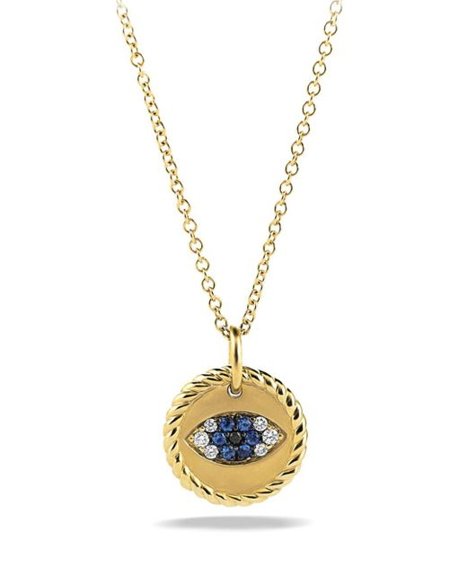 David Yurman Metallic Cable Collectibles Evil Eye Charm Necklace With Blue Sapphire