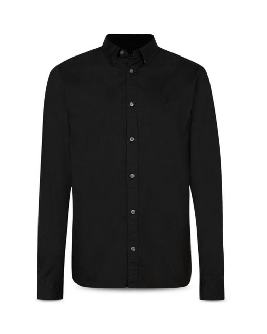 AllSaints Black Hawthorne Cotton Solid Regular Fit Button Down Shirt for men