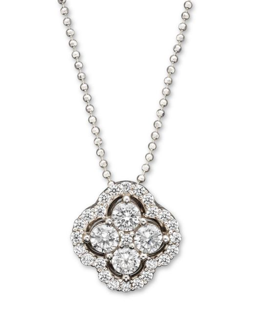 Bloomingdale's - Diamond Clover Pendant Necklace In 14k White Gold - Lyst