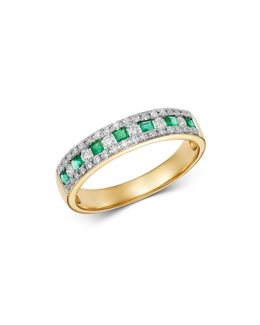 Bloomingdale's - Metallic Emerald & Diamond Single Band Ring In 14k Yellow Gold - Lyst