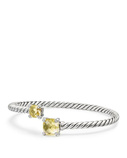 David Yurman - Metallic Chã¢telaine® Bypass Sterling Silver, Gemstone & Diamond Bracelet - Lyst