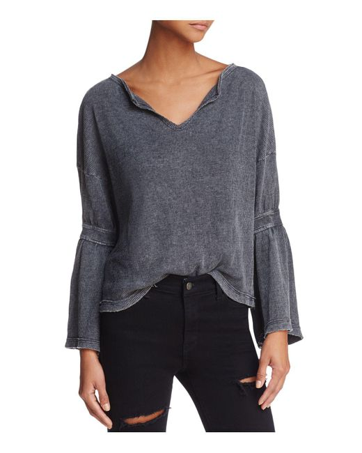 Honey Punch | Gray Bell Sleeve Waffle-knit Top | Lyst