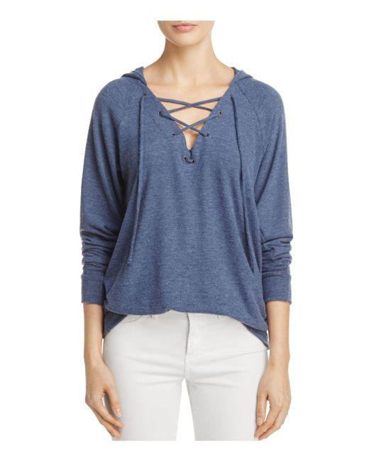 Velvet By Graham & Spencer | Blue Moira Lace-up Hooded Sweatshirt | Lyst