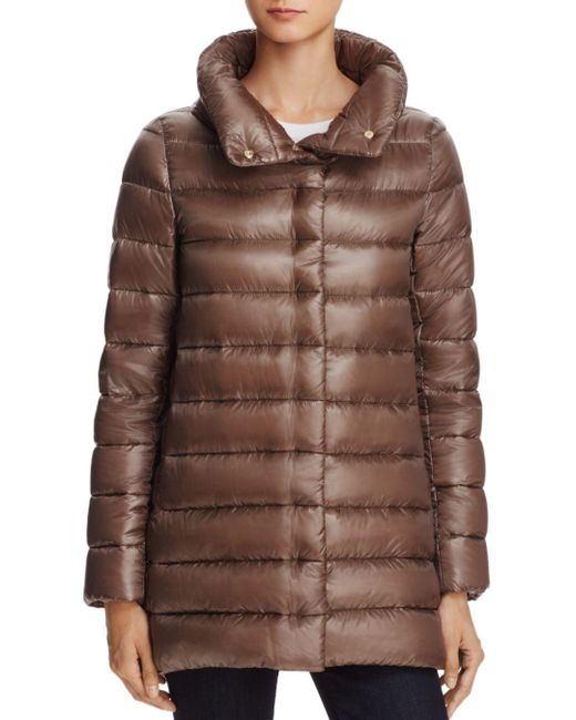 Herno - Brown Stand Collar Down Coat - Lyst