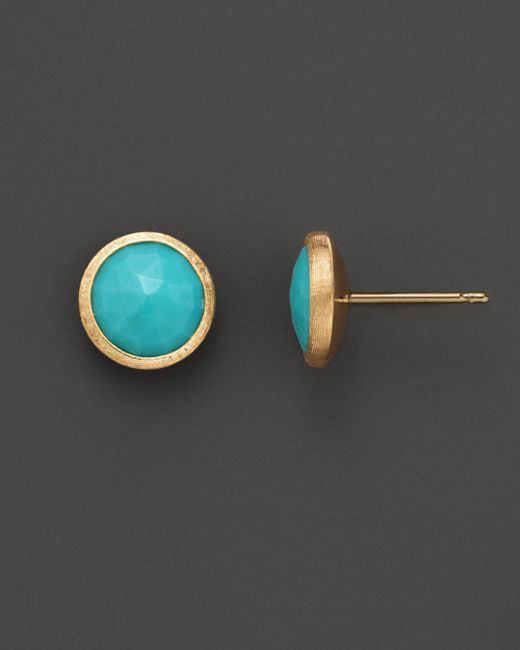 Marco Bicego Blue 18k Yellow Gold And Turquoise Earrings