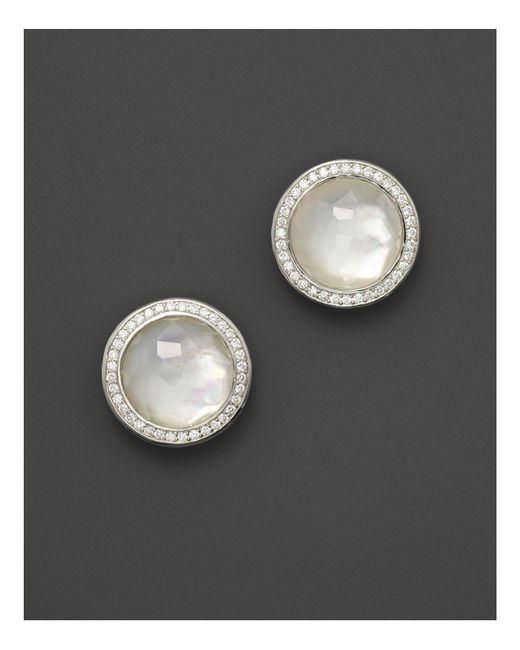 Ippolita - Metallic Sterling Silver Stella Studs In Mother-of-pearl Doublet With Diamonds - Lyst