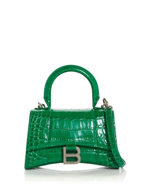 Balenciaga Green Hourglass Xs Leather Top Handle Bag