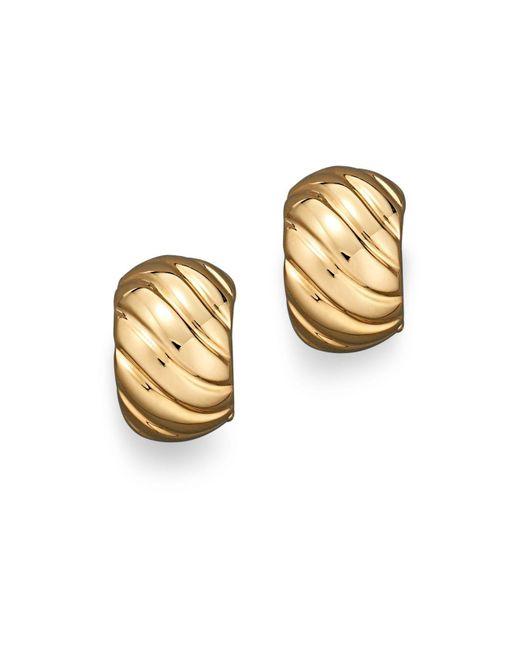 Roberto Coin | Metallic 18k Yellow Gold Ribbed Earrings | Lyst