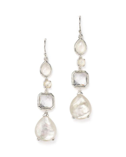 Ippolita - White Sterling Silver Rock Candy® Clear Quartz And Mother-of-pearl Drop Earrings - Lyst
