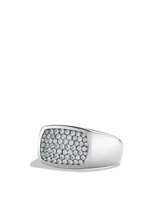 David Yurman - Metallic Pavé Signet Ring With Gray Sapphires - Lyst