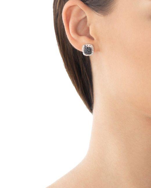 "John Hardy Metallic ""kali Lava"" Small Square Stud Earrings With Black Sapphire"