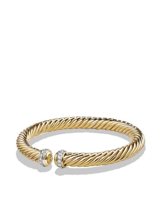 David Yurman - Metallic Cable Spira Bracelet With Diamonds In 18k Gold - Lyst