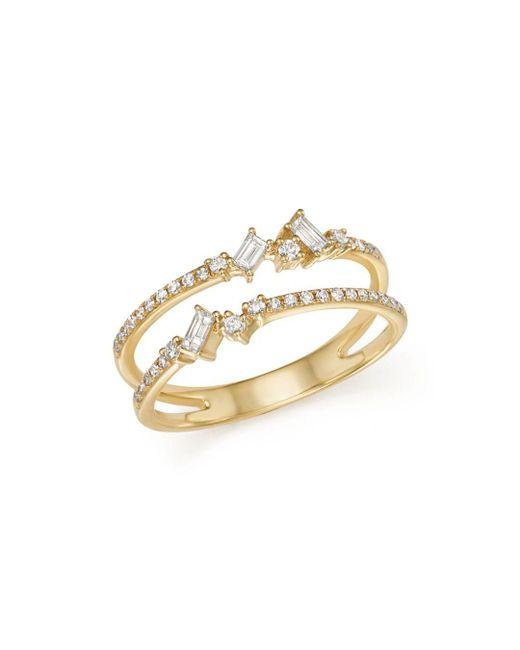 KC Designs - Metallic 14k Yellow Gold Mosaic Diamond Double Bar Ring - Lyst