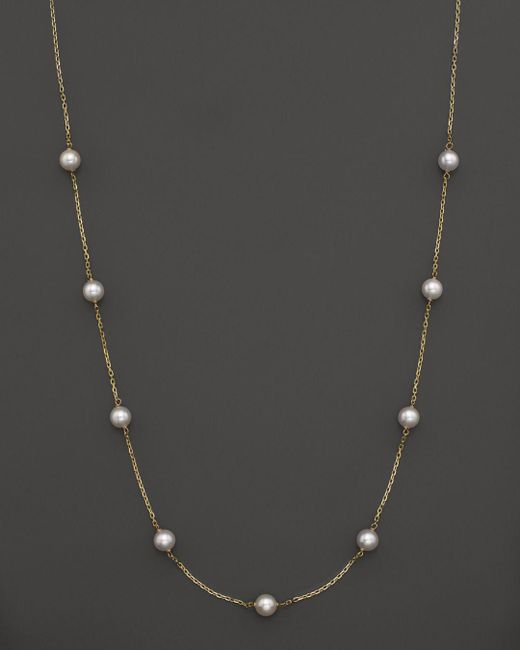 "Bloomingdale's - Metallic 14k Yellow Gold Akoya Cultured Pearl Necklace, 18"" - Lyst"