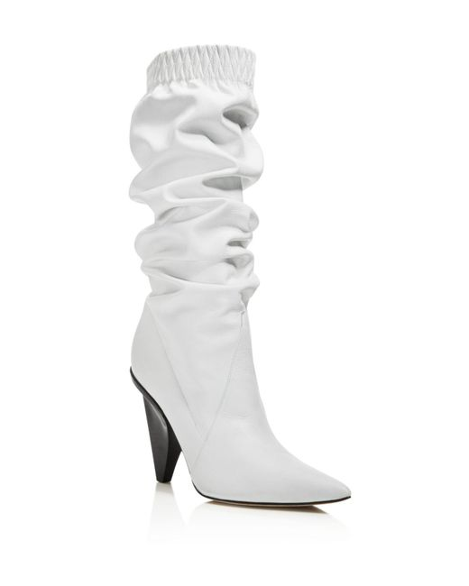 Sigerson Morrison - White Women's Jay Leather Slouchy Booties - Lyst