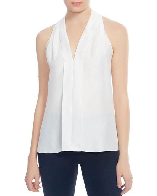 Halston Heritage - White Pleated Back-sash Top - Lyst