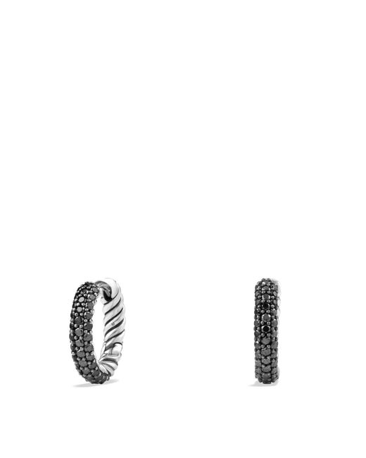 David Yurman - Metallic Petite Pavé Earrings With Black Diamonds - Lyst