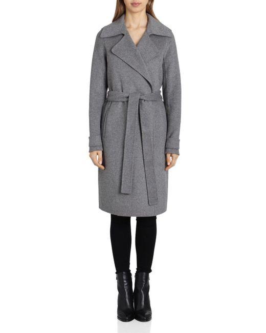 Badgley Mischka Gray Belted Wrap Coat