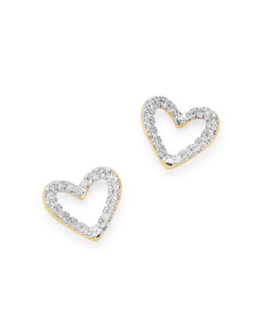 Adina Reyter Metallic 14k Yellow Gold Pavé Diamond Open Heart Stud Earrings