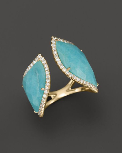 Meira T - Blue 14k Yellow Gold Amazonite Double Open Curve Ring - Lyst