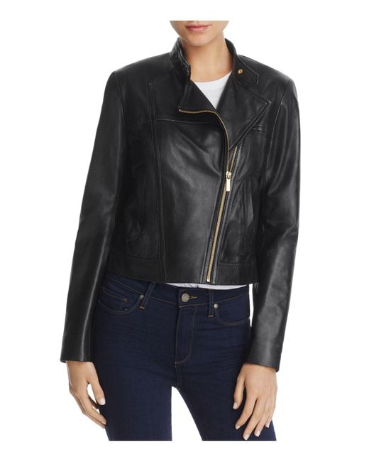 MICHAEL Michael Kors - Black Leather Moto Jacket - Lyst