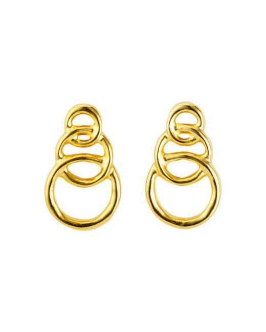Uno De 50 Metallic Gold Chain Graduated Loops Drop Earrings Lyst