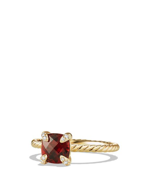 David Yurman - Red Châtelaine Ring With Garnet And Diamonds In 18k Gold - Lyst