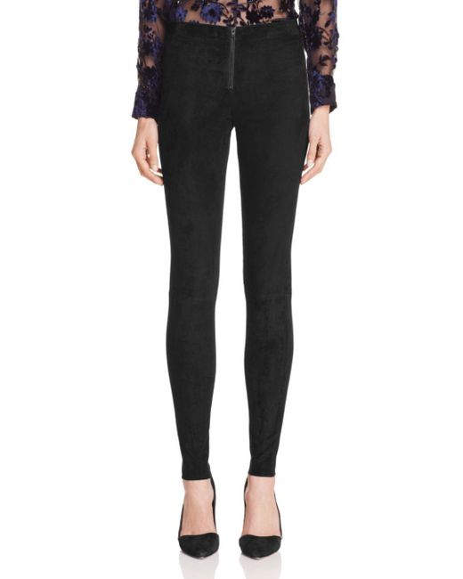Alice + Olivia Black Alice + Olivia Zip Front Suede Leggings