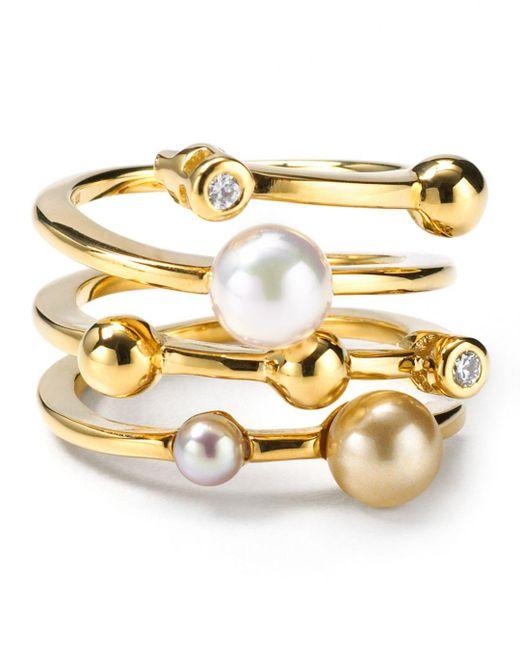 Majorica - Metallic Endless Simulated Pearl Ring - Lyst