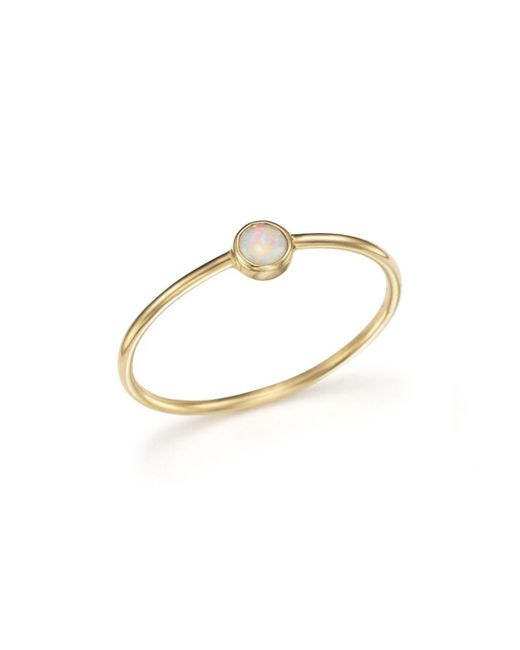 Zoe Chicco - Metallic 14k Gold Thin Ring With A Bezel Set Round Opal - Lyst