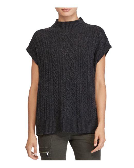 Ralph Lauren   Black Lauren Mock Neck Cable-knit Sweater   Lyst