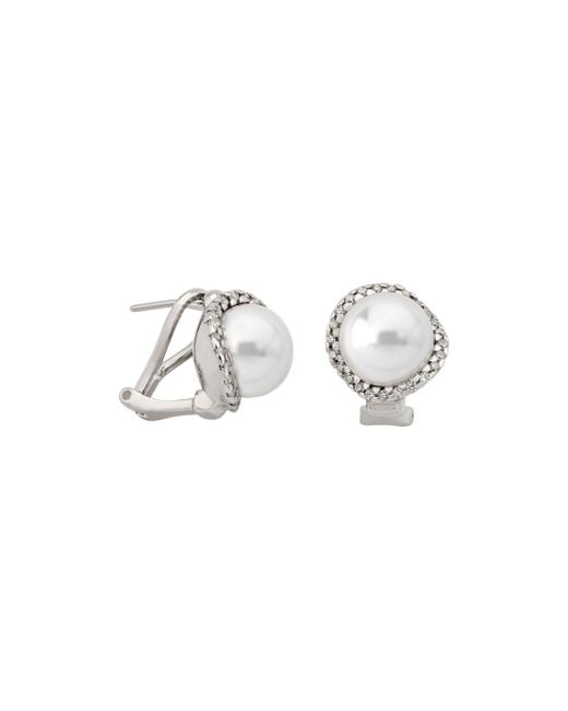 Majorica White Simulated Cultured Pearl Stud Earrings In Sterling Silver