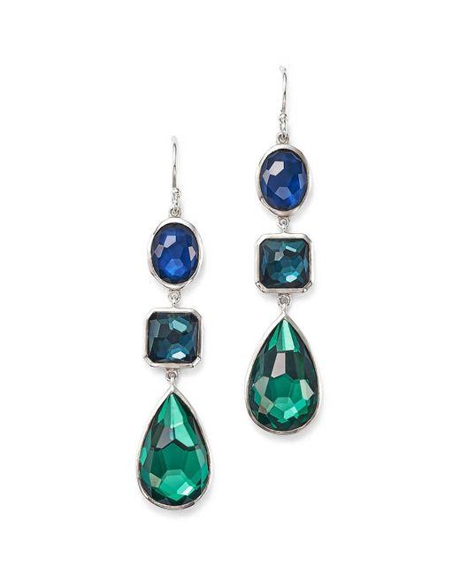 Ippolita | Blue Sterling Silver Rock Candy® Wonderland Three Stone Linear Drop Earrings In Merino | Lyst