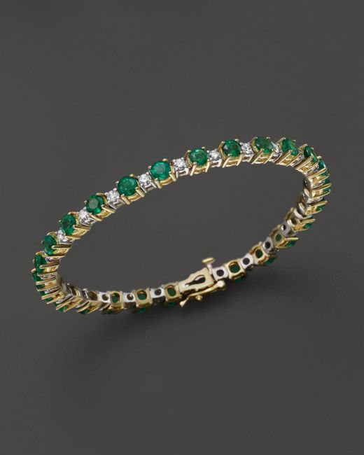 Bloomingdale's - Metallic Emerald And Diamond Bracelet In 14k Yellow Gold - Lyst