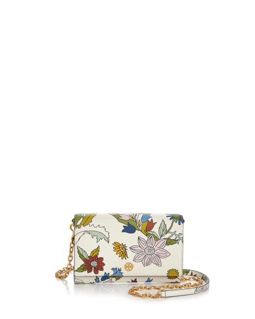 Tory Burch - Metallic Robinson Floral Leather Chain Wallet - Lyst