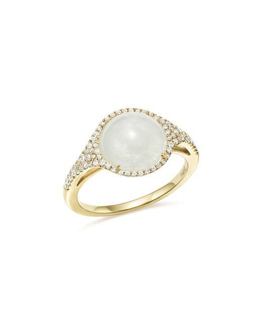 Meira T   Metallic 14k Yellow Gold Rainbow Moonstone And Diamond Ring   Lyst