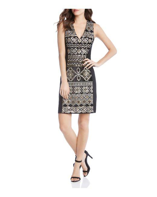 Karen Kane - Black Metallic Sequin Embroidered Sheath Dress - Lyst