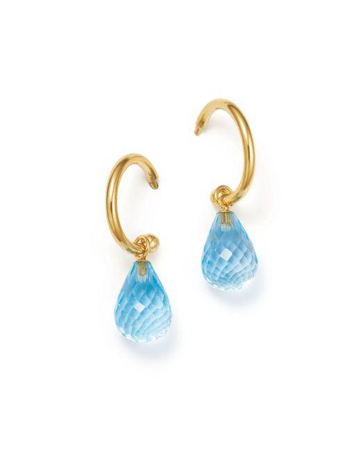 Bloomingdale's Blue Topaz Briolette Hoop Drop Earrings In 14k Yellow Gold