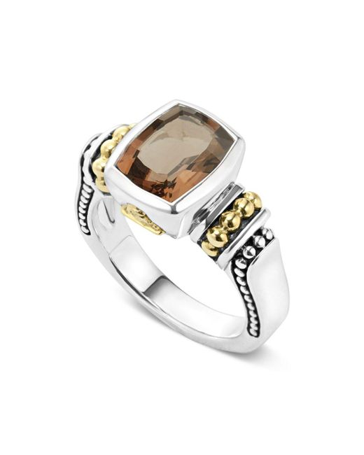Lagos - Metallic 18k Gold And Sterling Silver Caviar Color Small Smoky Quartz Ring - Lyst