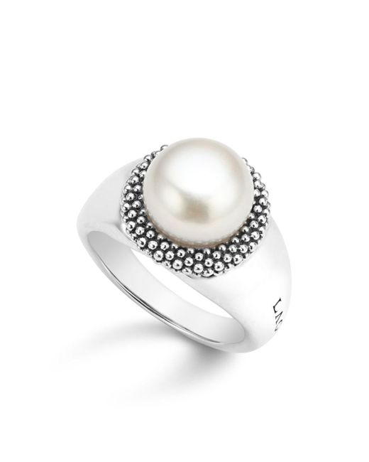 Lagos - White Sterling Silver Luna Cultured Freshwater Pearl Caviar Bezel Ring - Lyst