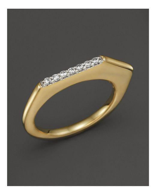 Kara Ross | Metallic 18k Yellow Gold Pangea V Stacking Ring With Diamonds | Lyst