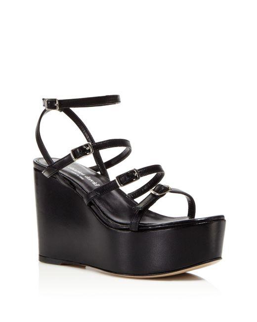 Charles David | Black Penelope Strappy Platform Wedge Sandals | Lyst