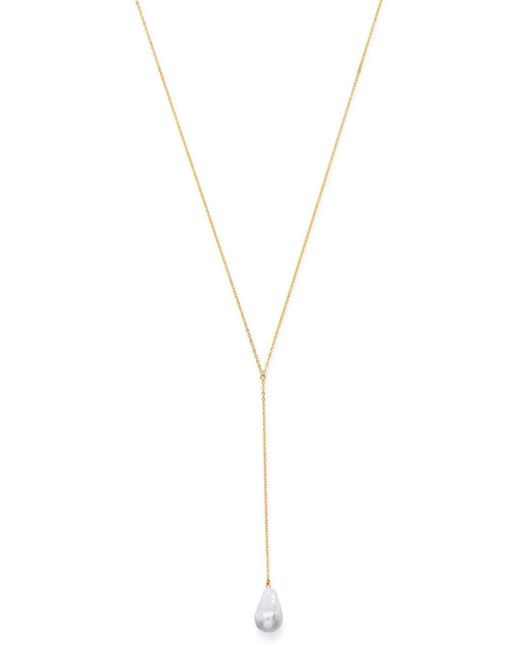 Bloomingdale's Metallic Baroque Pearl Y Necklace In 14k Yellow Gold