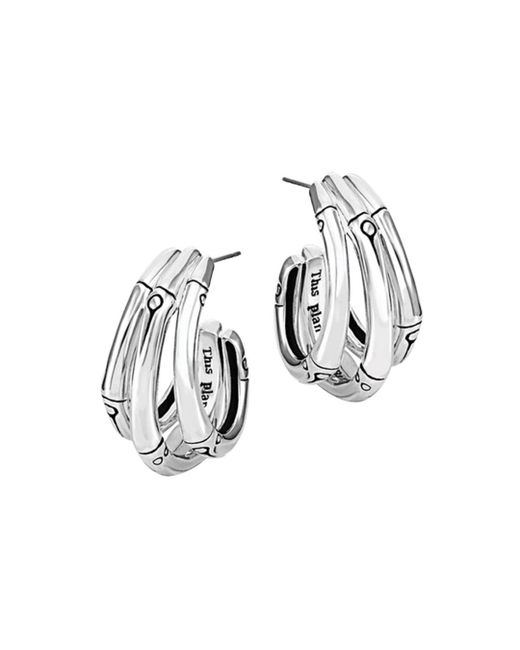 John Hardy Metallic Bamboo Silver Small J Hoop Earrings