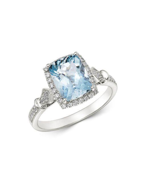 Bloomingdale's Multicolor Aquamarine & Diamond Milgrain Ring In 14k White Gold