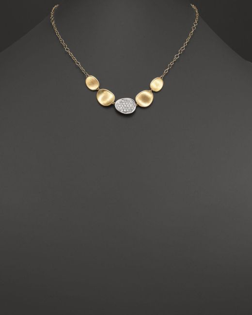 Marco Bicego Metallic 18k White And Yellow Gold Lunaria Diamond Half Collar Necklace