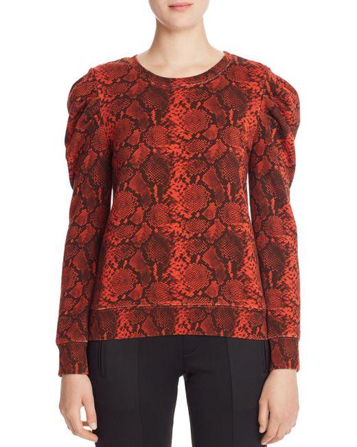 Pam & Gela Red Puff - Shoulder Snake Print Sweatshirt