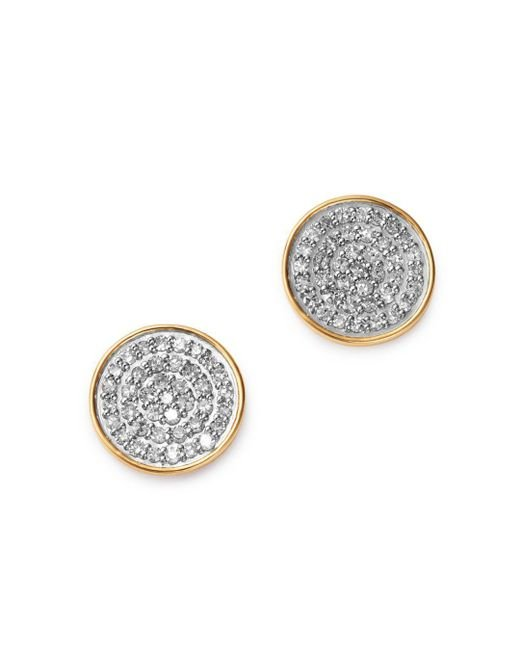 Adina Reyter - Metallic 14k Yellow Gold Pavé Diamond Large Disc Stud Earrings - Lyst