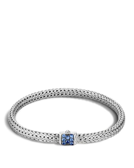 John Hardy Classic Chain Sterling Silver Lava Extra Small Bracelet With Blue Sapphires